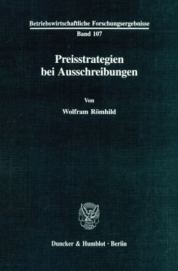 Cover: Preisstrategien bei Ausschreibungen