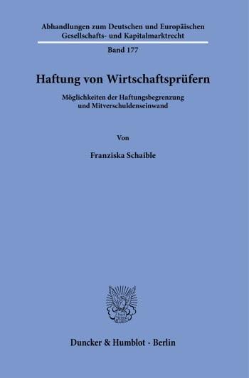 Cover: Haftung von Wirtschaftsprüfern