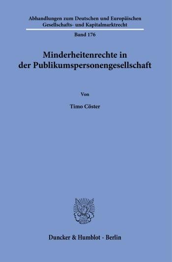 Cover: Minderheitenrechte in der Publikumspersonengesellschaft