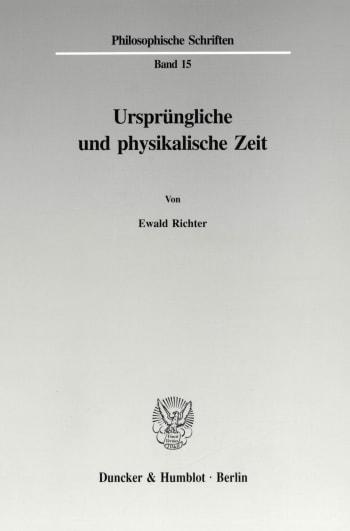 Cover: Ursprüngliche und physikalische Zeit