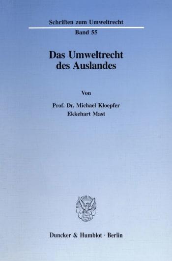 Cover: Das Umweltrecht des Auslandes