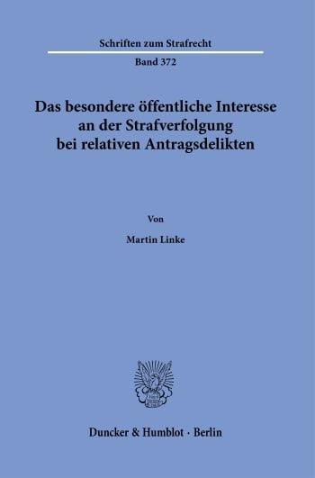 Cover: Schriften zum Strafrecht (SR)