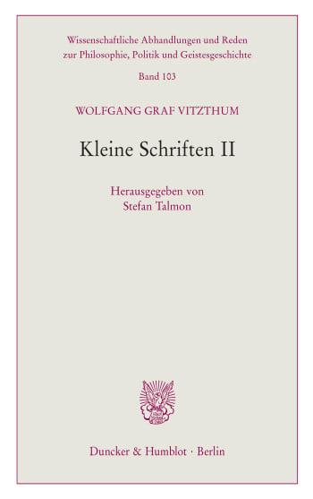 Cover: Wissenschaftliche Abhandlungen und Reden zur Philosophie, Politik und Geistesgeschichte (PPG)