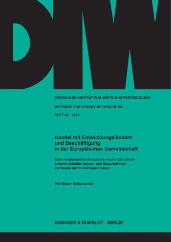 Cover: Handel mit Entwicklungsländern und Beschäftigung in der Europäischen Gemeinschaft
