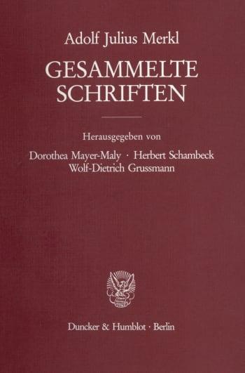 Cover: Gesammelte Schriften