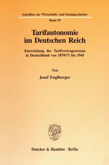 Cover: Tarifautonomie im Deutschen Reich