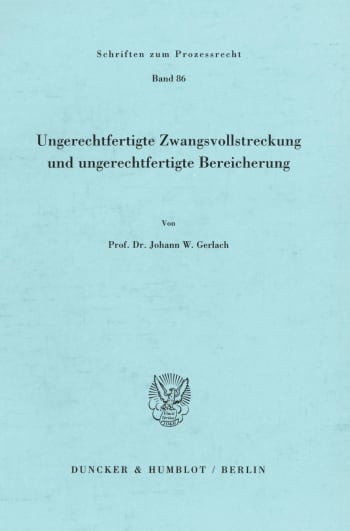 Cover: Ungerechtfertigte Zwangsvollstreckung und ungerechtfertigte Bereicherung