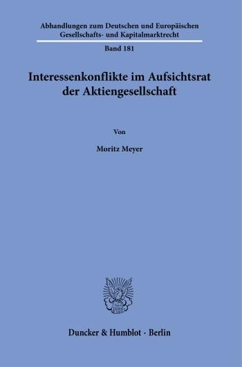 Cover: Interessenkonflikte im Aufsichtsrat der Aktiengesellschaft