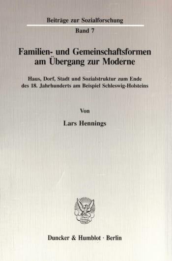 Cover: Familien- und Gemeinschaftsformen am Übergang zur Moderne