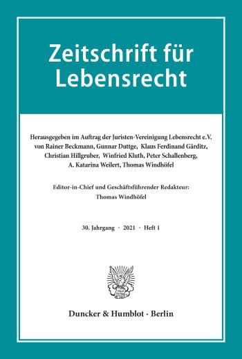 Cover: Zeitschrift für Lebensrecht (ZfL)