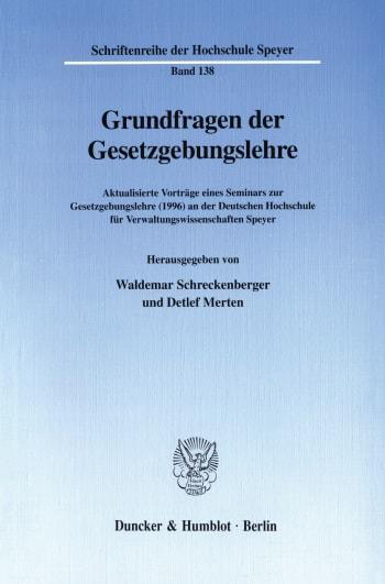 Cover: Grundfragen der Gesetzgebungslehre
