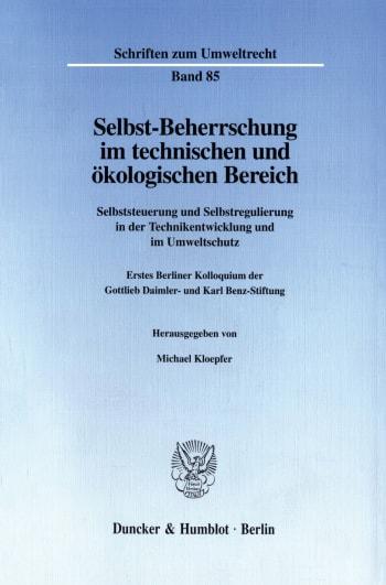 Cover: Selbst-Beherrschung im technischen und ökologischen Bereich