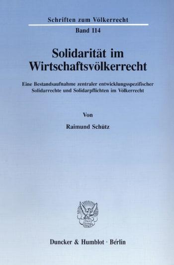 Cover: Solidarität im Wirtschaftsvölkerrecht