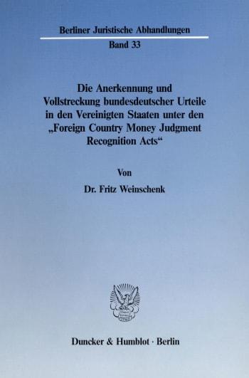 Cover: Berliner Juristische Abhandlungen (BJA)