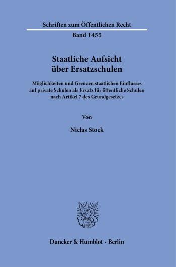 Cover: Staatliche Aufsicht über Ersatzschulen