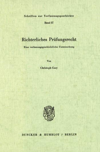 Cover: Richterliches Prüfungsrecht