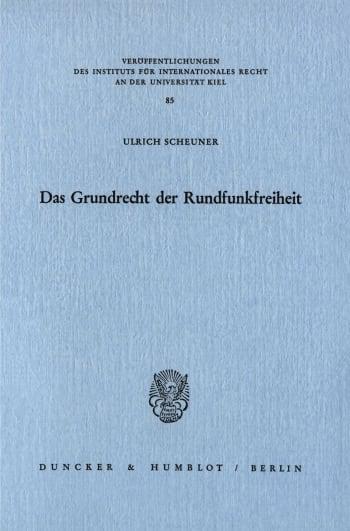 Cover: Das Grundrecht der Rundfunkfreiheit