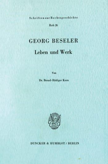Cover: Georg Beseler