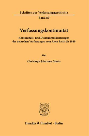 Cover: Verfassungskontinuität