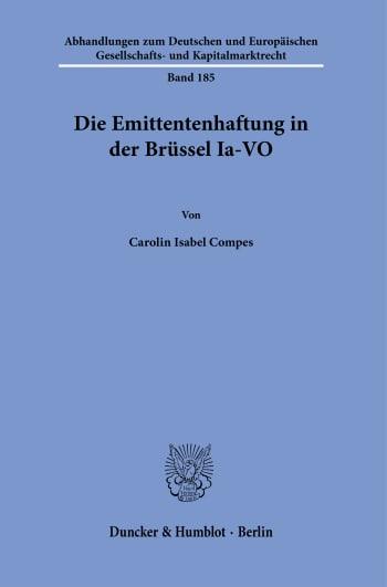 Cover: Die Emittentenhaftung in der Brüssel Ia-VO