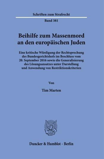Cover: Beihilfe zum Massenmord an den europäischen Juden