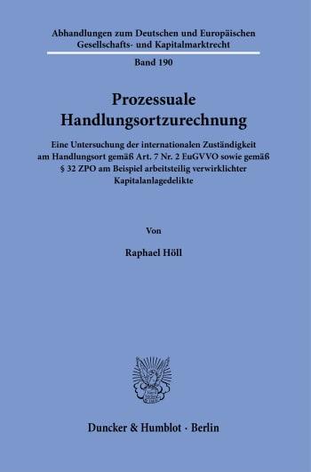 Cover: Prozessuale Handlungsortzurechnung
