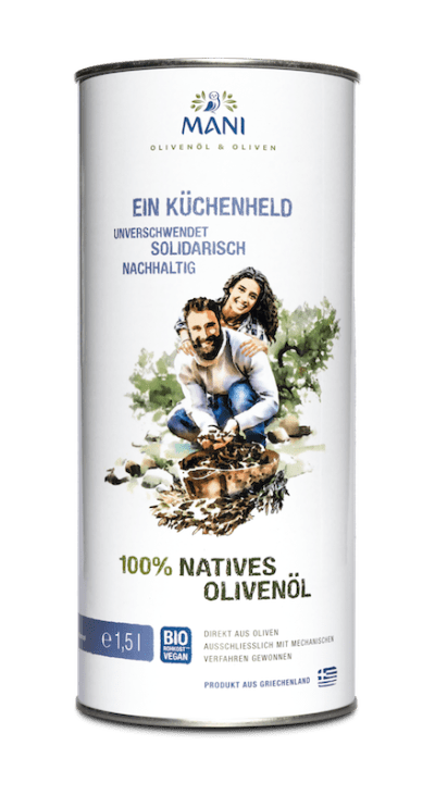 Eine Dose Bio-Olivenöl von MANI