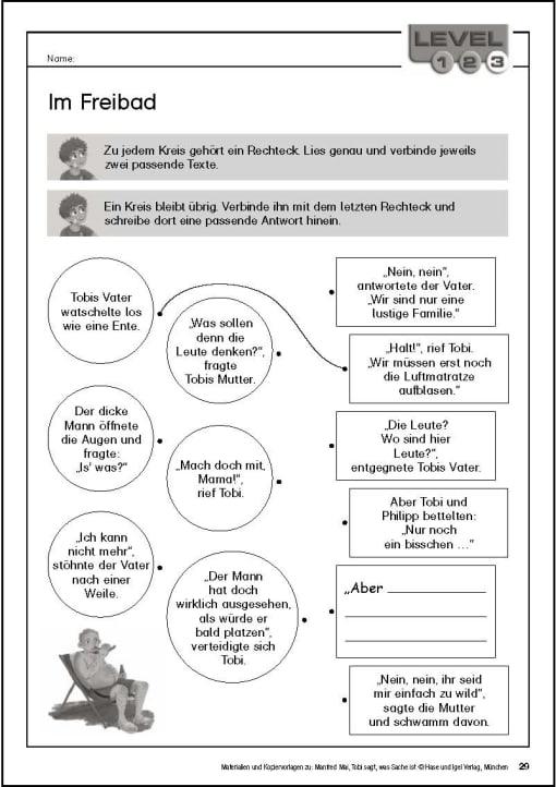 Klassenlektüre - Kopiervorlage Begleitmaterial Tobi Seite 29