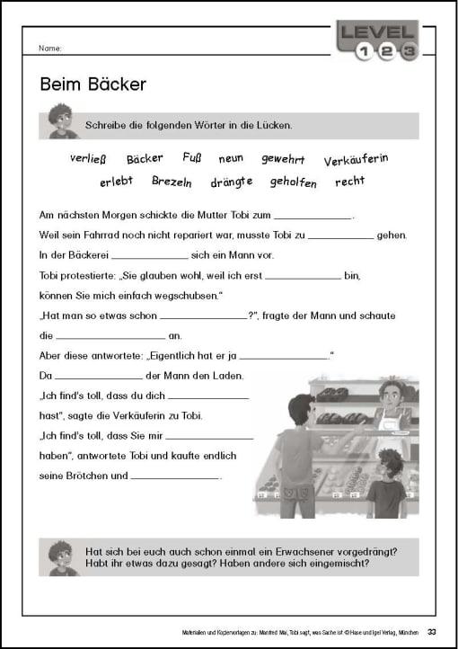 Klassenlektüre - Kopiervorlage Begleitmaterial Tobi Seite 33