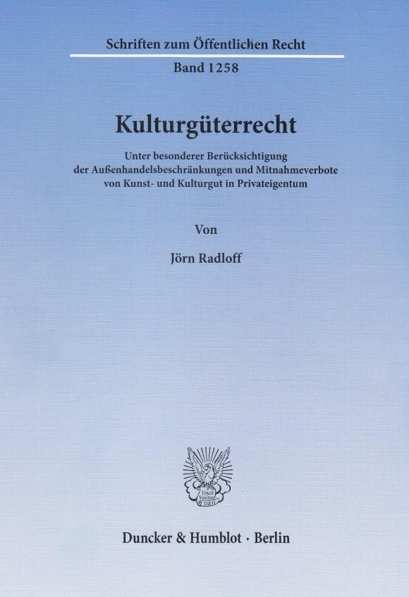 Cover Kulturgüterrecht