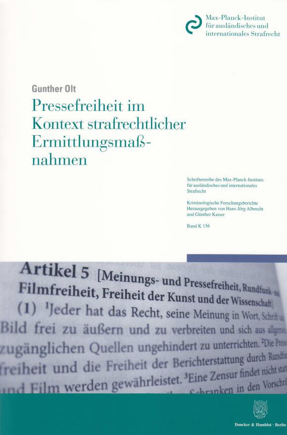 Cover Pressefreiheit im Kontext strafrechtlicher Ermittlungsmaßnahmen