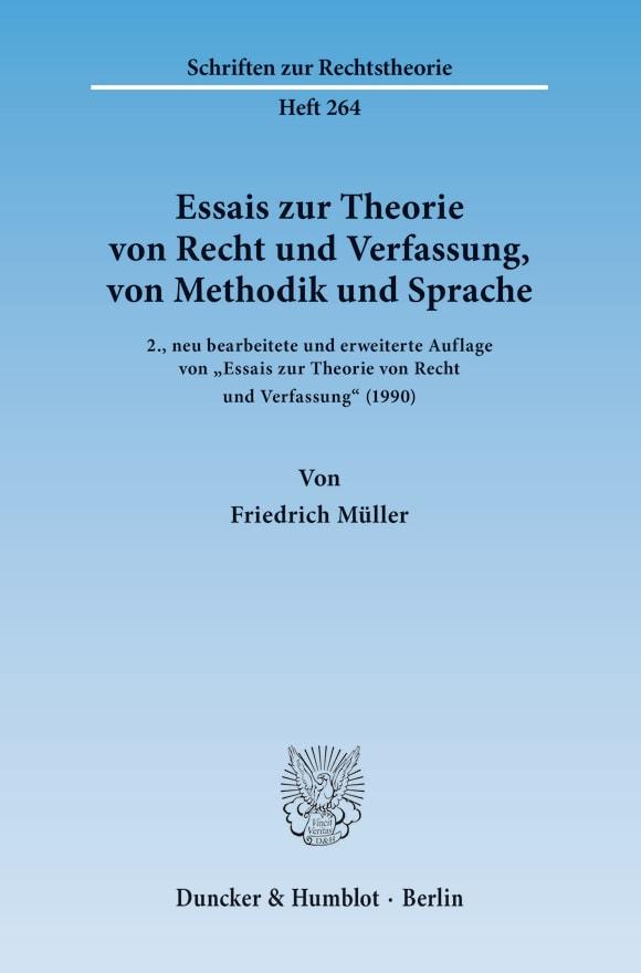 Cover Essais zur Theorie von Recht und Verfassung, von Methodik und Sprache
