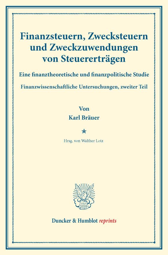 Cover Finanzsteuern, Zwecksteuern und Zweckzuwendungen von Steuererträgen