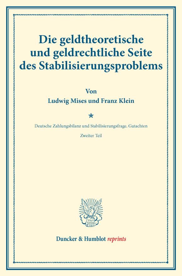 Cover Die geldtheoretische und geldrechtliche Seite des Stabilisierungsproblems