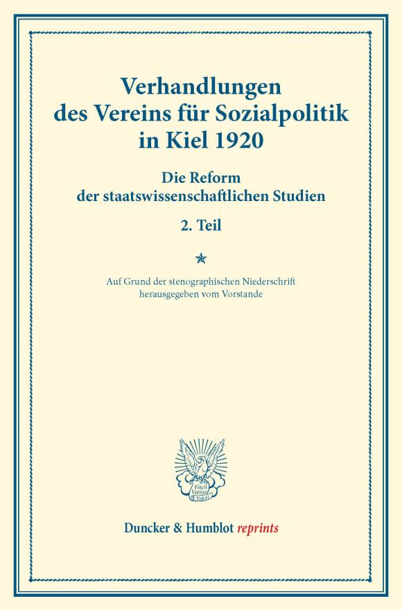 Cover Verhandlungen des Vereins für Sozialpolitik in Kiel 1920