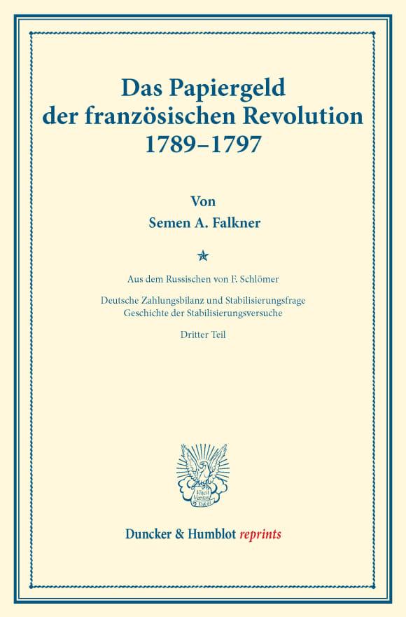Cover Das Papiergeld der französischen Revolution 1789–1797