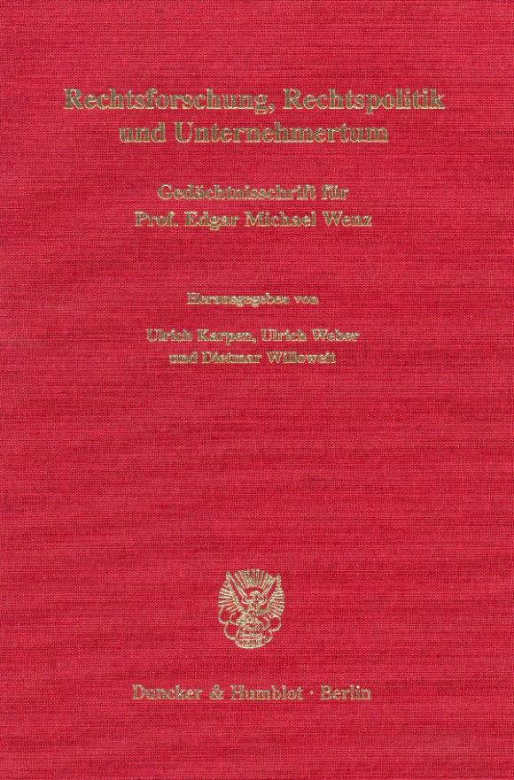 Cover Rechtsforschung, Rechtspolitik und Unternehmertum