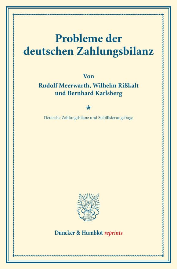 Cover Probleme der deutschen Zahlungsbilanz