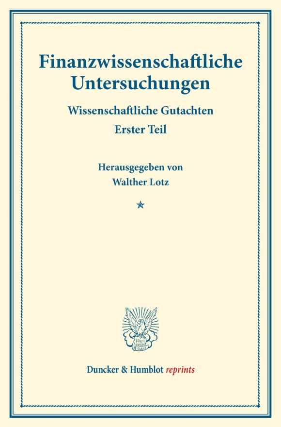 Cover Finanzwissenschaftliche Untersuchungen