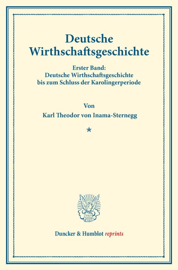 Cover Deutsche Wirthschaftsgeschichte