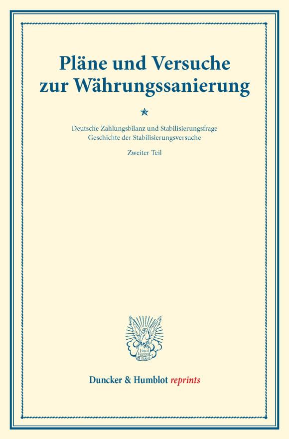 Cover Pläne und Versuche zur Währungssanierung