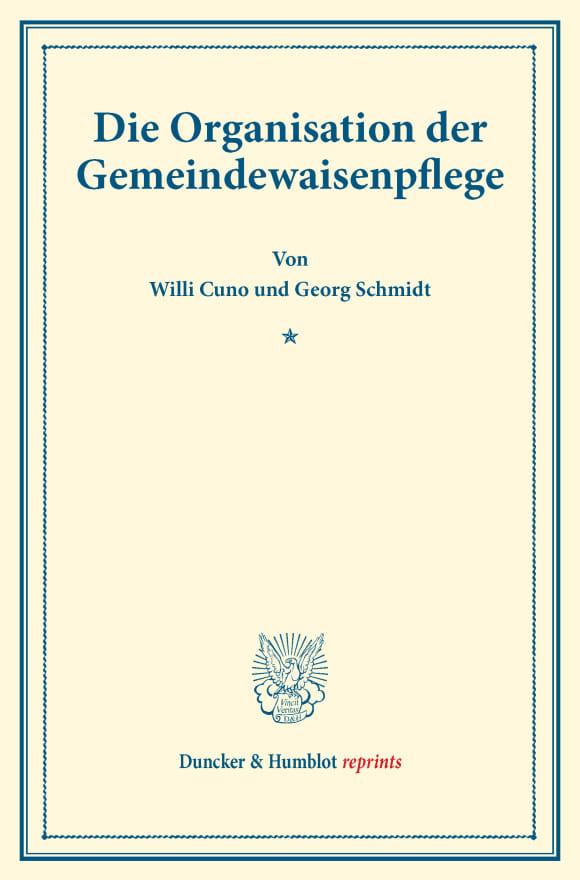 Cover Die Organisation der Gemeindewaisenpflege
