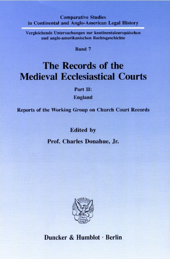 Cover The Records of the Medieval Ecclesiastical Courts