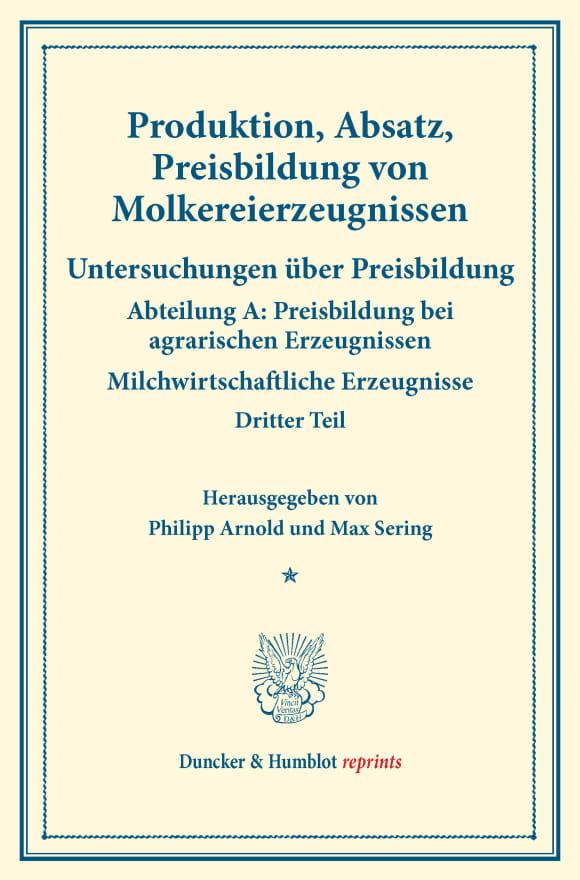 Cover Produktion, Absatz, Preisbildung von Molkereierzeugnissen