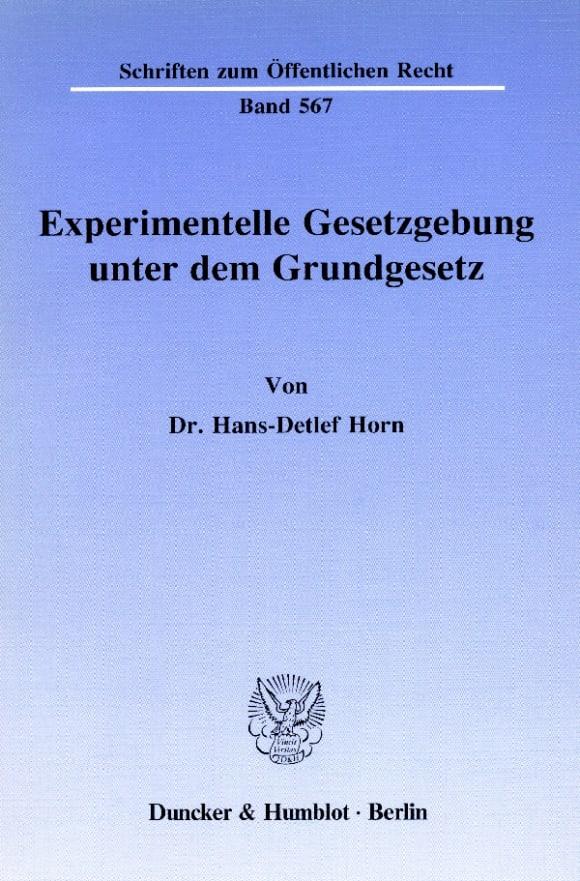 Cover Experimentelle Gesetzgebung unter dem Grundgesetz