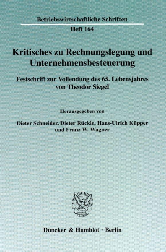 Cover Kritisches zu Rechnungslegung und Unternehmensbesteuerung
