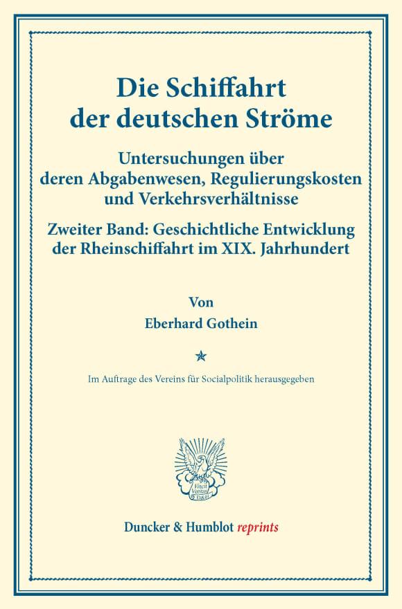 Cover Die Schiffahrt der deutschen Ströme
