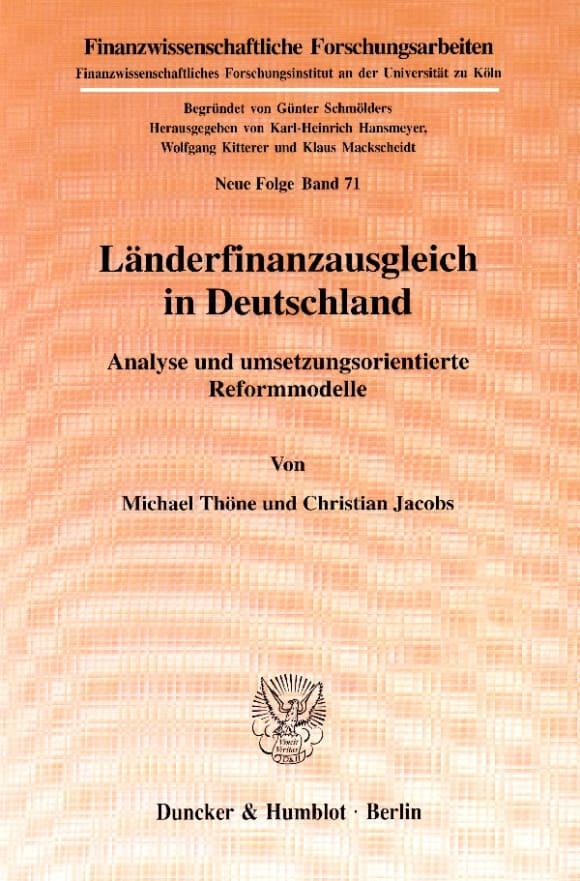 Cover Länderfinanzausgleich in Deutschland