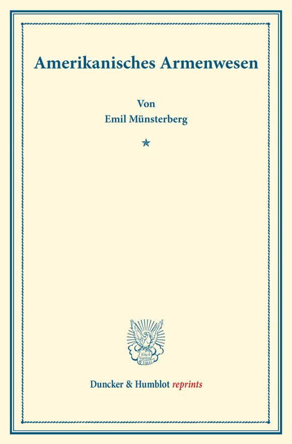 Cover Amerikanisches Armenwesen