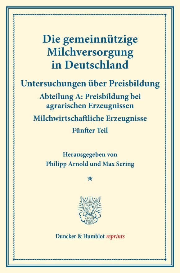 Cover Die gemeinnützige Milchversorgung in Deutschland